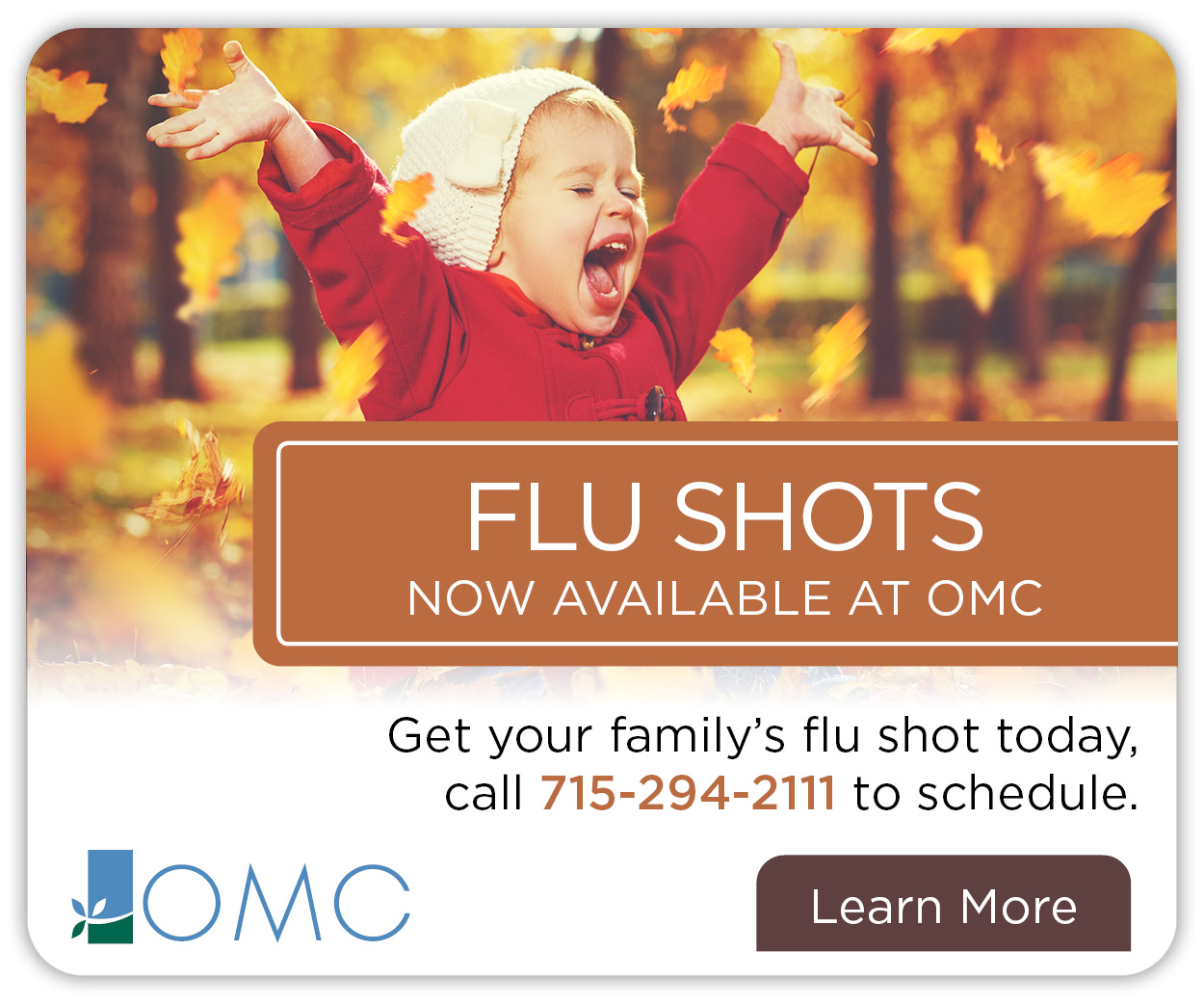 banner ad with little girl throwing leaves up in the air to promo flu vaccinations