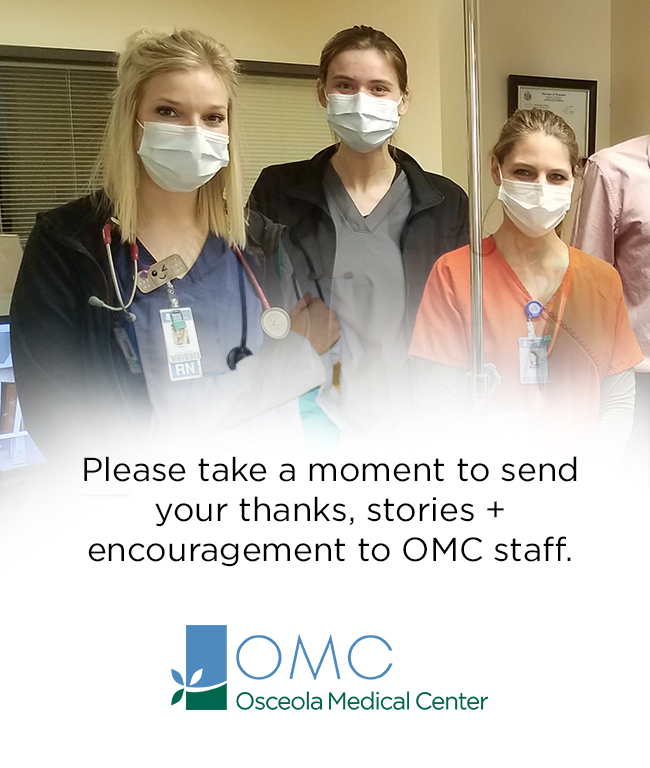Group of medical staff with masks on asking to give kudos to our staff by clicking